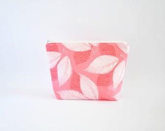Floral Cosmetic Bag, Zipper Pouch, Makeup Bag, Makeup Pouch, Cosmetic Pouch, Toiletry Bag - Dark Pink Leaves