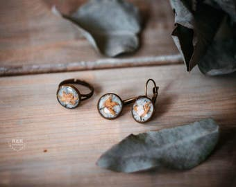 With linden flowers / vintage style / ring and earrings with linden flowers
