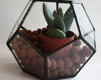 Little Geometric Terrarium / stained glass planter / candle holder / display box / dodecahedron