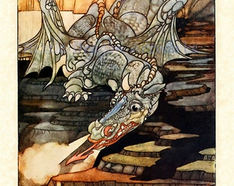 "Charles Robinson ""There Was Heard the Roar of the Quickly Approaching Dragon"" 1909 Reproduction Digital Print Medieval Times Dragon"
