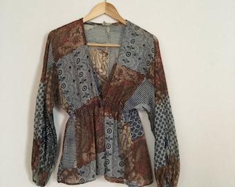 20% OFF SALE Vintage 1970s Gauze Blouse - Printed Cotton Boho Blouse