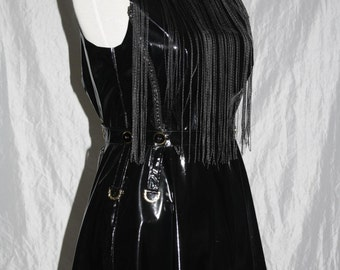 Patent leather dress [golden details] string curtain - Gr. 38
