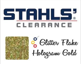 "7"" Stahls' Glitter Flake - Craft Roll - Iron-On  Heat Transfer Vinyl - HTV - Hologram Gold"