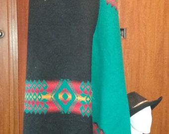 Pendleton (R) Heavyweight Wool Fabric - Turquoise/Black, Southwest Patterned, Reversible