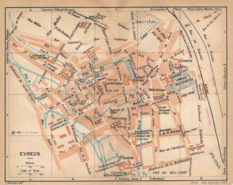 1930 Evreux France Antique Map