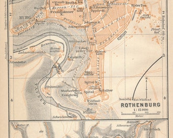 1910 Rothenburg ob der Tauber Germany Antique Map