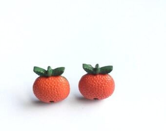 Orange Fruit Earrings, Orange Fruit Stud Earrings, Citrus Earrings, OJ Earrings, Fruit Stud Earrings, Miniature Food Earrings, Kawaii