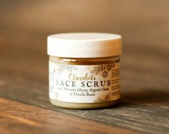 Moisturizing chocolate face scrub - gentle exfoliator-  Chocolate Face Scrub with Manuka Honey - Cocoa Facial Scrub - Face Scrub - Lip Scrub
