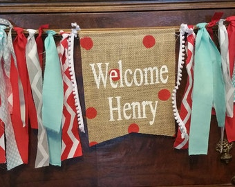 Circus Baby Shower Banner, Welcome Baby Banner, Welcome Baby Shower Sign,  Custom Carnival