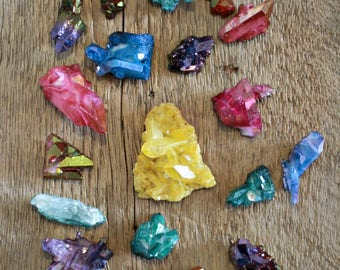 CLEARANCE, DEFECT aura quartz cluster lot, aura crystal, rose aura quartz, ruby aura quartz, blue aura quartz, hybrid aura quartz, wholesale