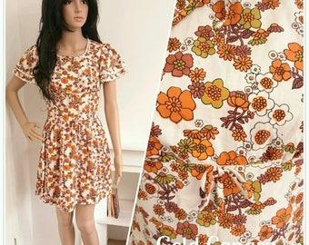 Vintage 60s Orange White Cotton Daisy Floral Mini Dress Mod Boho / UK 8 / EU 36 / US 4