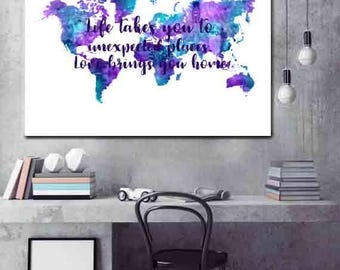 Large World Map wall art World Map Poster Purple and Teal Word Map Decor