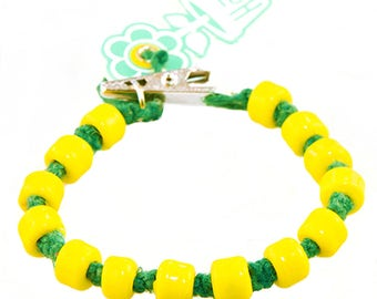 Puck Drop Green Hemp Yellow Glass Crow Bead HOTI Bracelet Alligator Clip Clasp 420 Beaded Roach Clip It Mens Hockey NHL Team Inspired Style