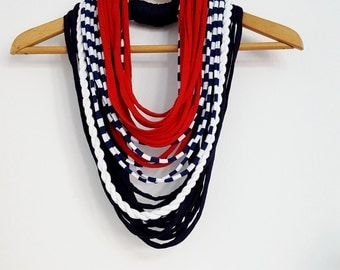 NAUTICAL necklace Textile necklace FABRIC Necklace Fabric Jewelry Nautical accessories Summer Scarves Summer Navy Marine Necklace Scarf