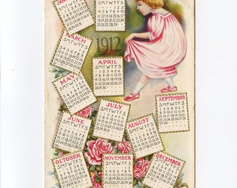 1912 New Yearu0027s Postcard With Full Calendar Girl In Pink Dress And Roses  Embossed Used Concord