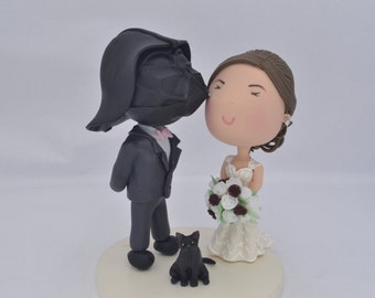 Sith and bride with black cat. Star Wars themed cake topper. Wedding figurine.  Handmade. Fully customizable.