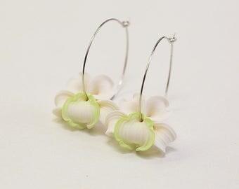Orchid Earrings. Ivory white green flower earrings. Tropical Flower hoops earrings. Polymer clay jewelry.  Hoop earrings. Floral Jewelry
