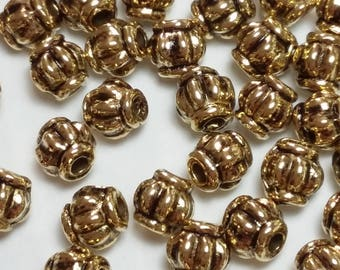 25pcs Antique Gold Lantern Beads - 4mm Beads - Gold Tone Findings - Metal Spacer Beads - Fluted Beads - Tribal Jewelry - B54258