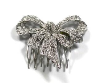 Silver Bow Rhinestone Hair Comb, Wedding  Hair Comb, Bridal Hair Comb, Jeweled Hair Comb, Crystal Hair Comb, Bridal Comb, Wedding Comb