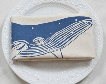 Whale Tea Towel - Kitchen Towel - Flour Sack Towel - Cotton Dishcloth - Animal Tea Towels - Nautical Decor - Humpback Whale - Floursack