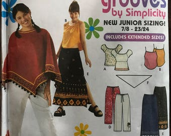 Simplicity 9194 - Grooves Retro Styled Poncho, Tank Top, Peasant Blouse, Pants, Skirt, and Scarf - Size 7 8 9 10 11 12 13 14 15 16