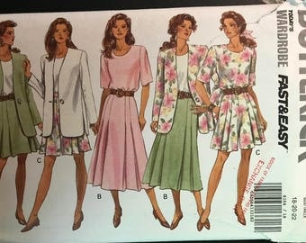 Butterick 6164 - 1990s Fast and Easy Separates with Below Hip Length Jacket, Top, Skirt, and Shorts - Size 18 20 22