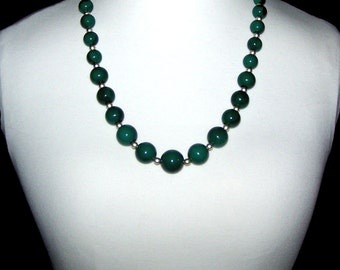 Green Necklace - Green Bead Necklace - Long Bead Strand - SALE / Graduated / Marbled - Stone Look