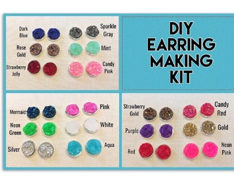 DIY earring Kit, druzy earring kit, jewelry making kit, earring set, diy kit, diy jewelry, druzy studs, 12mm Druzy, cabochon, stud earrings