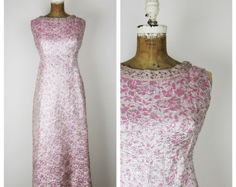 Vintage 1960s Dress / 60s Pink and Silver Brocade Maxi Dress / Medium