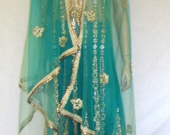 Women's Ethnic-Indian-Three Piece Ensemble in Ombre Colors with Gold Embroidery and Exquisite Embellishments