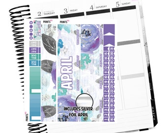 FOIL APRIL Monthly kit, Planner Stickers