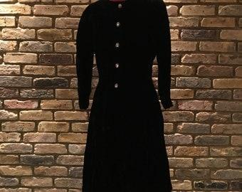 1970's Vintage Anne Klein Velvet Dress   UK 10-12   High Class Diamante Evening Dress