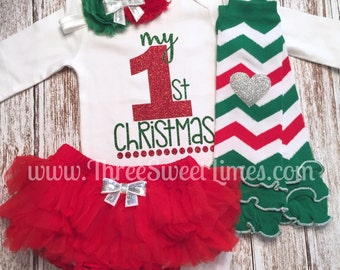 Baby Girl First Christmas Outfit | My First Christmas | Baby's First Christmas | Leg Warmers Headband | Tutu Bloomer Red Green