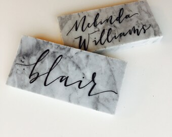 Marble place cards, marble tile place cards, black and white wedding decor, wedding table decor