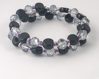 Black bracelet, purple bracelet, black beaded bracelet, purple beaded bracelet, purple wrap bracelet, black wrap bracelet, bracelet black