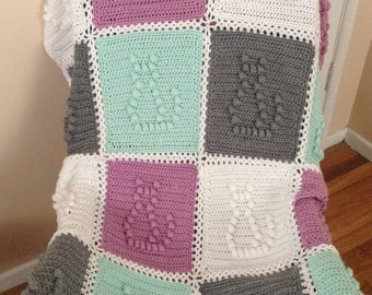Crocheted Baby Blanket – Handmade - Cat Theme -Kitty Cat Theme -Green, White, Gray and Lilac