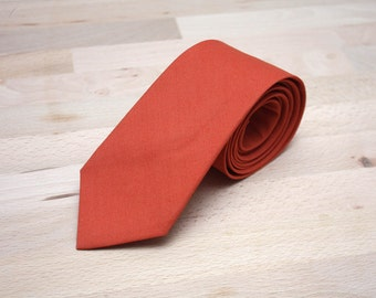 Mens Tie TC221 Dark Orange Handmade Cotton Men's necktie Men Neckties Formal Suit Wedding tie Boom Bow