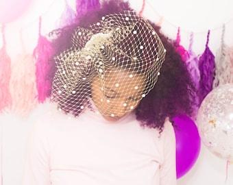 Gold Veil - Pearl Veil- Birdcage Veil-Bridal Veil- Bridal Shower - Wedding Veil -Blusher Veil -Veil Headband - Wedding Fascinator
