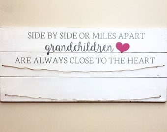 Side By Side Or Miles Apart Grandchildren | Grey and Pink on White