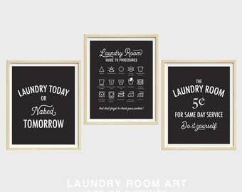 Laundry Room Art, Set of Three, Laundry Symbols, Laundry Today or Naked Tomorrow, Same Day Service
