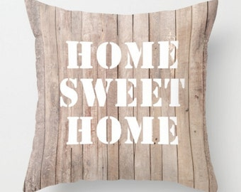 Home Sweet Home Cushion, Taupe White Decorative Pillow Case, Beige Cushion Cover, Words Pillow, 16x16 18x18 20x20, Quote Throw Pillow