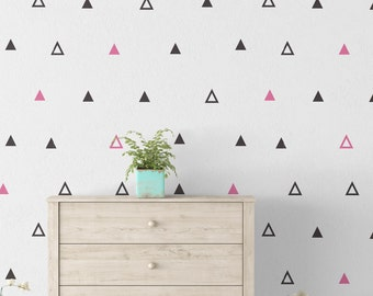 Geometric Art - Geometry - Wallpaper - Outlines - Triangles - Modern - Removable Wallpaper - Peel & Stick - Self Adhesive Fabric - SKU:GEOTR
