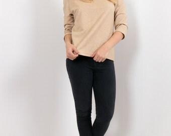 80s Beige Gold Vintage Jersey Tunic Shirt / Stand Collar Mod Minimalist 60s inspired Glitter Print