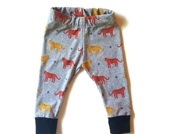 Tiger baby leggings, baby leggings, baby boy clothes, unisex baby clothes, tiger printed baby pants, baby gift, new mom gift, trendy baby