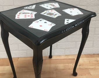 Upcycled Vintage Hand Painted Black Decoupaged Playing Card Side Table