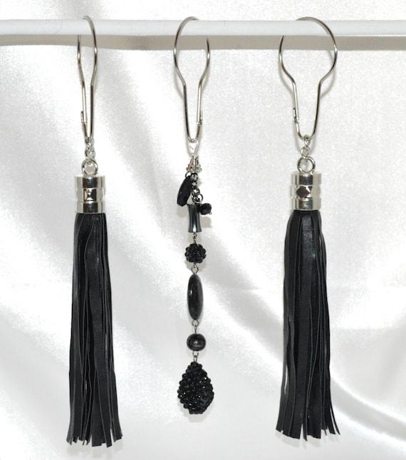 Items Similar To Black Tassel Shower Curtain Hooks Boho Faux Leather Tassels