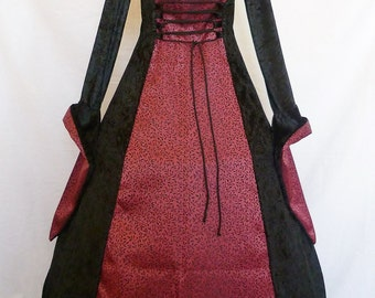 Gothic Dress Custom made to size medieval gown pagan costume black and Burgundy Renaissance wedding dress Fantasy gown