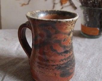 Red shino ceramic mug or cup, handmade wood fired stoneware pottery