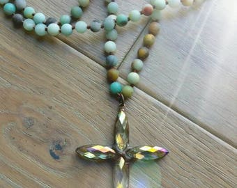 "MJM Designs™ Original EXCLUSIVE designed 36"" long semi precious gemstone hand beaded necklace,  4"" hand soldered crystal cross"