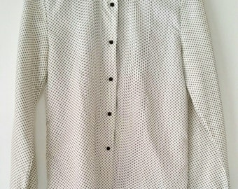 Alice Stuart Women's Long Sleeve White Blouse With Black Dots Vintage Top Button Up